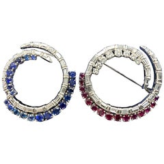 Red White and Blue Platinum Brooch Made with Diamonds, Rubies and Sapphires