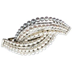 Harry Winston Hair Clip Platinum with Diamonds and Fine Cultured Pearls