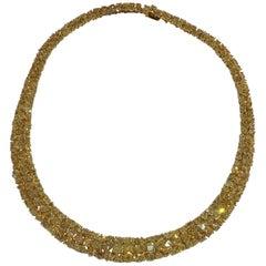GIA Certified Natural Yellow Diamond Necklace Set in 18 Karat Yellow Gold