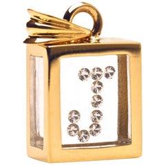 Incogem Floating Diamond Pendant: 14k Yellow Gold (Letter J)
