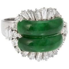 Jadeite Jade Diamond Cocktail Ring Vintage 14 Karat Gold Estate Fine Jewelry