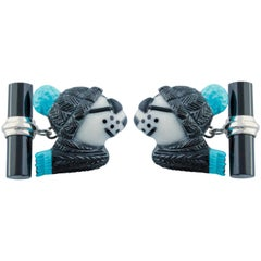 18 Karat White Gold Polar Bear in Coral Turquoise and Onyx Cufflinks