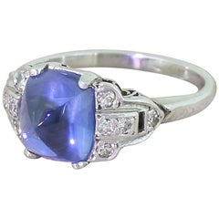 Art Deco 3.94 Carat Natural Sugarloaf Sapphire Platinum Ring