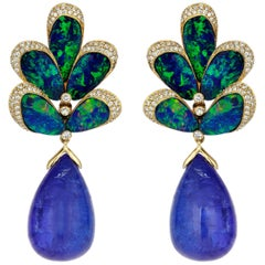 Gold Diamond Tanzanite Doublet Opal Peacock Earrings