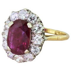 Midcentury 2.30 Carat Natural Ruby and Diamond 18 Karat Gold Cluster Ring