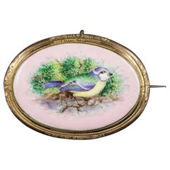 Antique Victorian Hand-Painted Blue Tit Brooch 18 Carat Gold Gilt, circa 1890