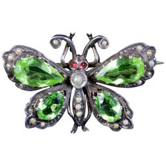 Antique Victorian Paste Stone Butterfly Brooch Silver, circa 1880