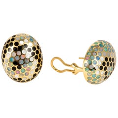 Angela Cummings Onyx Mother-of-Pearl and Opal Polka Dot Earrings