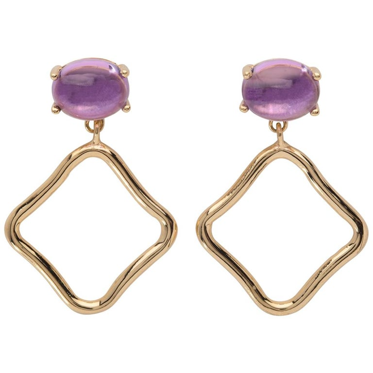 MAVIADA's Modern Minimalism Purple Amethyst 18 Karat Yellow Gold Drop Earrings