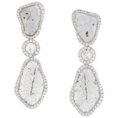 Manpriya B Triple Slice Diamond Drop Diva Earrings in 18 Karat White Gold