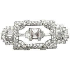 Antique 3.68 Carat Carre Cut GIA Certified Diamond in Art Deco Platinum Brooch