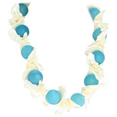 Aquamarine and Pearl Shell Necklace