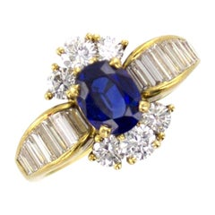 Kurt Wayne Diamond Sapphire 18 Karat Yellow Gold Estate Ring