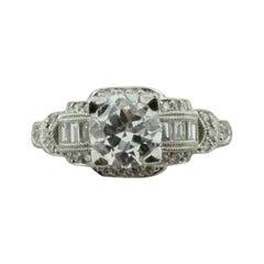 """Platinum Diamond Engagement Ring 1.11 Carat GIA E VS2 in """"Antique Style"""""""