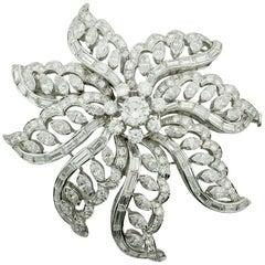 Important Diamond Flower Brooch in Platinum, circa 1940s 15.65 Carat