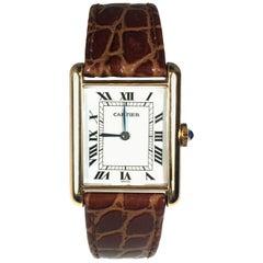 Cartier Paris Yellow Gold Gents Size Mechanical Wristwatch