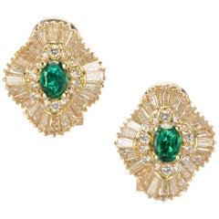 GIA Certified .60 Carat Emerald Diamond Gold Ballerina Style Earrings