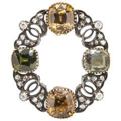 Antique Tourmaline and Diamond Pendant