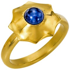 Blue Sapphire Cabochon Yellow Gold 22 Karat and 18 Karat Ring