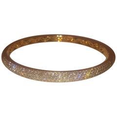 18 Karat Yellow Gold Diamond Tapered Bangle Bracelet