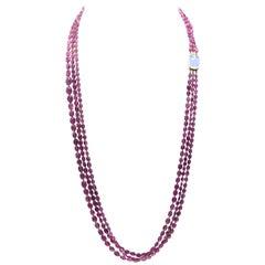 Gump's Tourmaline and Rose Quartz Necklace