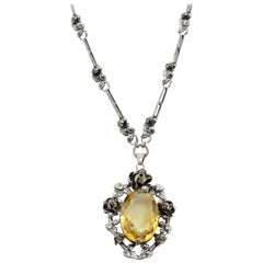 German Art Nouveau Silver Necklace Flower Oval Citrine