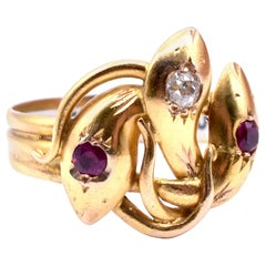 Three Headed Snake Ring with Rubies and Diamonds