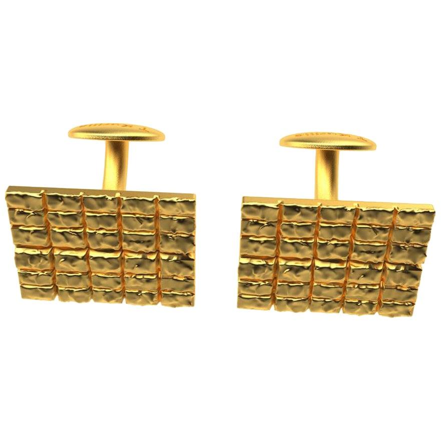 18 Karat Yellow Gold Molten Melting Cufflinks