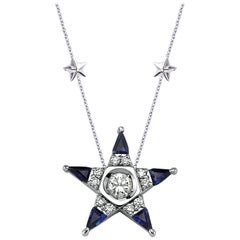 18 Karat White Gold Diamond Sapphire Star Necklace