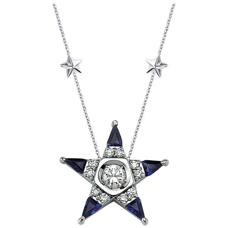 White-gold, diamond and sapphire Star necklace