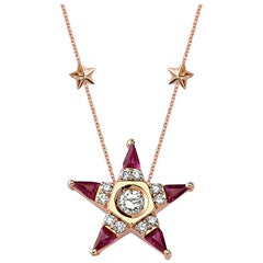 18 Karat Rose Gold Diamond Emerald Ruby Star Necklace