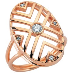 14 Karat Rose Gold White Diamond Geometria Oval Ring