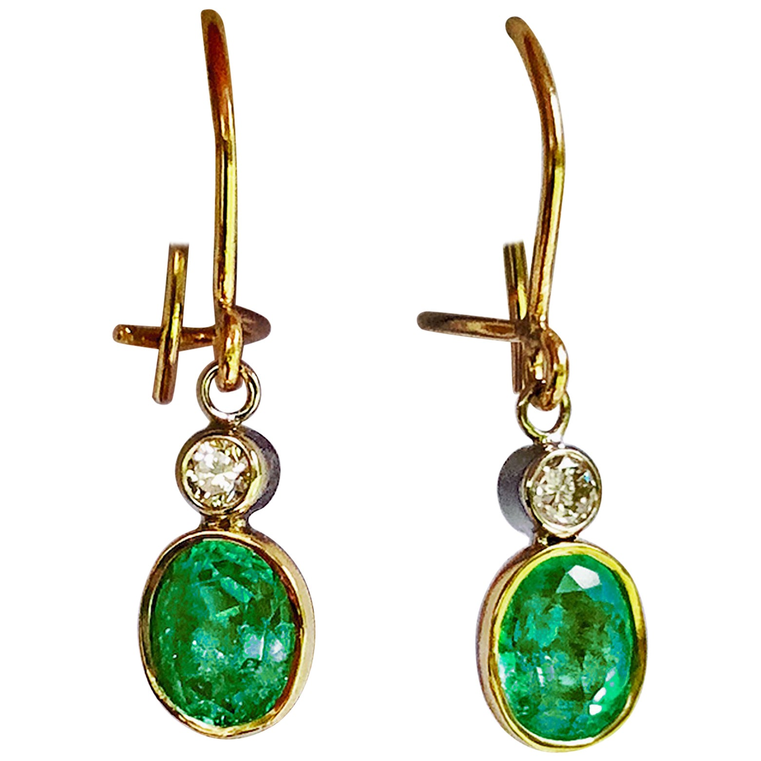2.60 Carat Natural Colombian Emerald Diamond Drop Earrings 18 Karat Gold