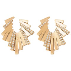 18 Karat Rose Gold White Diamond Geometria Burst Earrings