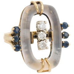 Rock Crystal Diamond Sapphire Cocktail Ring Vintage 14k Gold Estate Fine Jewelry