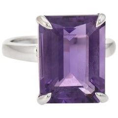 Tiffany & Co. Sparklers Amethyst Cocktail Ring Estate Sterling Silver Pre Owned