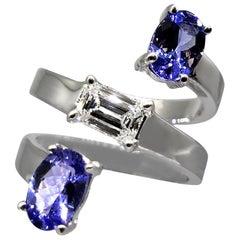 Drew Pietrafesa White Gold Diamond and Tanzanite Snake Ring