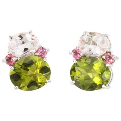 Peridot Pink Tourmaline Earrings Estate 18k White Gold Fine Jewelry