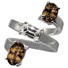 Drew Pietrafesa White Gold Diamond and Smoky Quartz Snake Ring