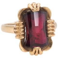 Garnet Cocktail Ring Vintage 10k Yellow Gold Estate Fine Jewelry