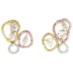 3 Color Gold Fancy Shape Diamond Yellow Pink Sapphire Abstract Earrings