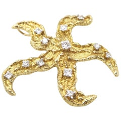 Starfish Diamond Gold Brooch and Pendant