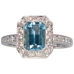 Aquamarine 1.01ct  18k Gold White Diamond Halo Pave Shoulders Engagement Ring