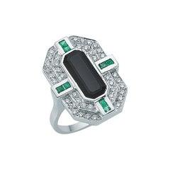 18 Karat White Gold Diamond & Emerald Dark Onyx Ring