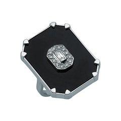 18 Karat White Gold Diamond Dark Onyx Ring