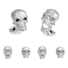 Deakin & Francis Sterling Silver Skull Dress Stud Set with Diamond Eyes