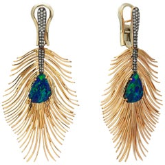 Rose Gold  Icy Diamond and Doublet Opal Peacock Earrings