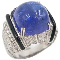 Modern Art Deco Style 18.85 Carat Cabochon Tanzanite Onyx Diamond Gold Ring