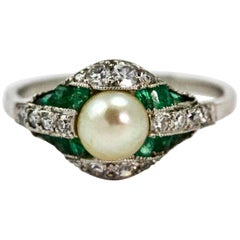 Platinum Belle Époque Emerald Natural Pearl and Diamond Cocktail Ring