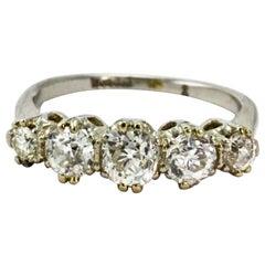 Edwardian Certified 1.5 Carat Diamond Platinum Five-Stone Ring